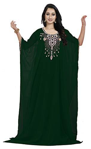 The Fabrics Station: Middle East Bollywood Style handgefertigter Designer Kaftan Farasha Jalabiya Kleid Abaya Casual für Party Events, Abendmode, Einheitsgröße - Design Nr 30 | Grün