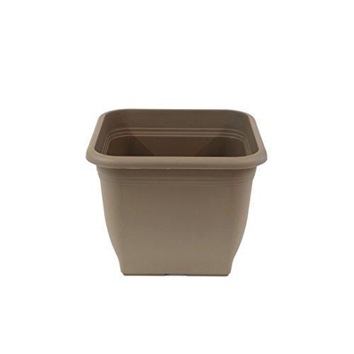 greemotion Pot de fleurs carré en plastique 23 x 23 cm 7L - Pot pour plantes extérieures et intérieures - Pot de jardin couleur taupe