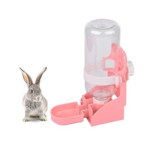 RUIYELE Botella de agua de conejo, 17 onzas para colgar fuente de agua dispensador automático sin fugas, dispensador de jaula, bebedor de caja para mascotas, para conejo, erizo, hueso, color rosa