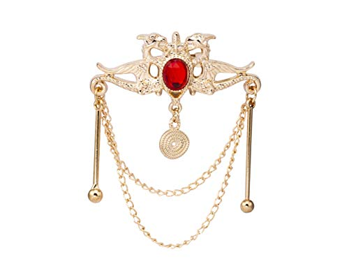 Knighthood Gold Dragon with Red Stone and Hanging Chain Metal Lapel Pin Badge Coat Suit Wedding Gift Party Shirt Collar Accessories Brooch for Men