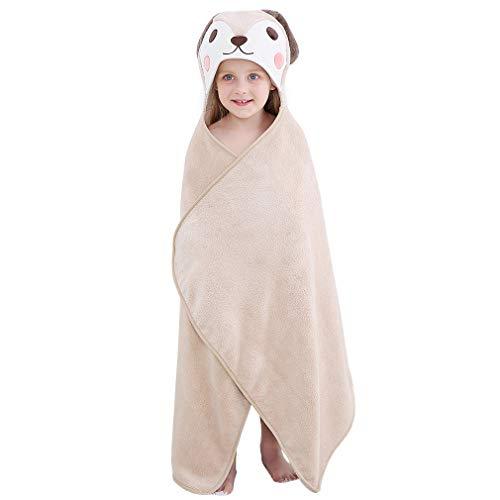 "MICHLEY Cartoon Hooded Baby Towel Unisex, Premium Soft Swimming Bathrobe Large Washcloths 27.5"" x 45.5"" for 0-7T (Dog)"