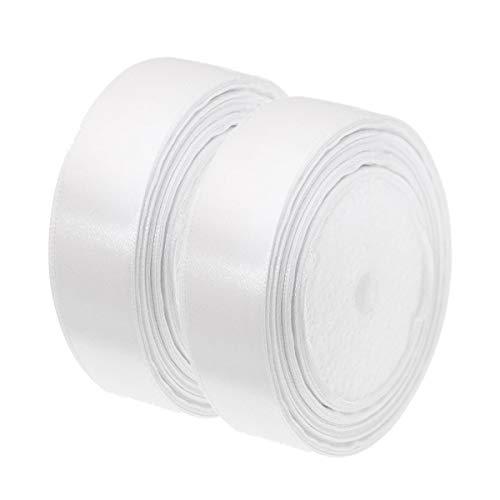 Nastro di raso bianco, 25 mm x 44 m, rotolo di nastro di raso per cucito, arte, artigianato, fiocchi, abiti, confezioni regalo, matrimoni, compleanni e abbigliamento