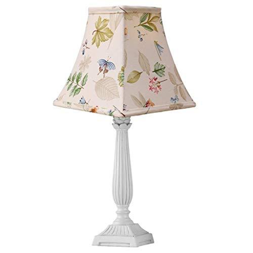 PLLP Lámpara de escritorio de lectura, lámpara de mesa de dormitorio estudiantil, moderna, minimalista, resina blanca, jardín romántico, viento, dormitorio, lámpara de mesa de noche, sala de estar, e