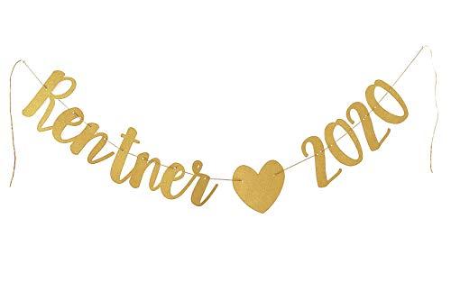 Rentner 2020 Girlande, Gold, stilvolle Party Dekoration für die Abschiedsfeier, Rente, Ruhestand
