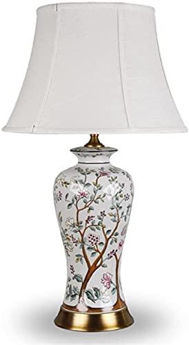 KFJZGZZ Lámparas de mesa sala de estar retro cerámica lámpara de mesa de estilo chino pintado a mano flores y aves europeo salón estudio retro lámpara