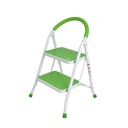 Stair stoel 2/3 Stap vouwladder Kruk Stap Kruk, Heavy Duty Strijkijzer, Portable Met Anti-Slip stair kruk (Color : Green)