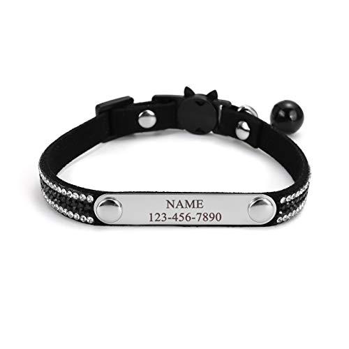 Mogokoyo Personalisiert Katzenhalsband mit Glöckchen Reflektierend Katzenhalsband Namen Telefonnummer Sicherheitsverschluss Verstellbar Kristall Katze Kitten Samtstoff 21-25cm Schwarz
