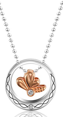 AnazoZ dames roestvrij staal Jewelry hanger collier Bowknot Sliding Plate Inlaid White CZ Rose Gold