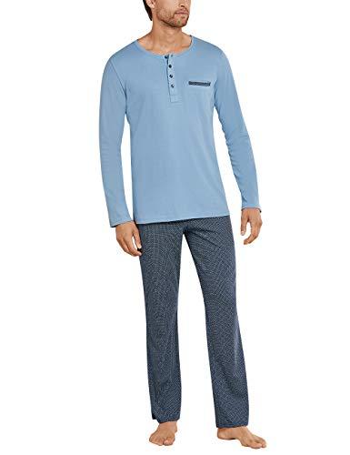 Schiesser Herren Anzug Lang_169697 Zweiteiliger Schlafanzug, Blau (air 802), 50