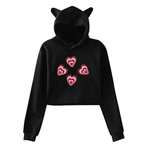 AYASS Women's Cat Ear Crop Top Hoodie Sweater Love Hearts Vector Design Long Sleeve Hooded Pullover,Black,XXL