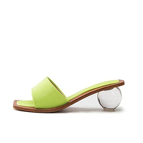 CCSSWW Zapatos Elegantes de Cuero de Verano para niñas de PU,Cristal Redondo con una Palabra con Sandalias.-Verde_38,Sandalias Chanclas Finas para Mujer