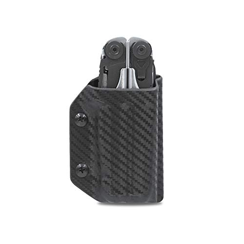 Clip & Carry Kydex Multitool Sheath for LEATHERMAN SURGE - Made in USA (Multi-tool not included) EDC Multi Tool Sheath Holder Holster Cover (Carbon Fiber Black)