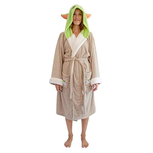 Star Wars: The Mandalorian, Grogu The Child Hooded Bathrobe for Women   Baby Yoda-Themed Soft Plush Spa Robe for Shower   Lightweight Fleece Housecoat With Belted Tie   One Size Fits Most Adults
