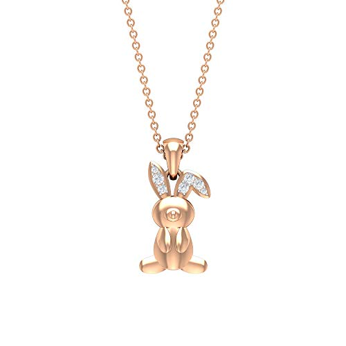 Collar con colgante de conejo de diamante, colgante de conejo de oro, collar de animal lindo