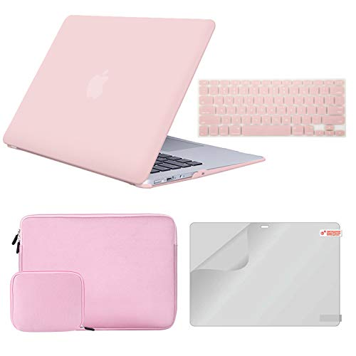 MacBook Air 13 Inch Case A1932 Bundle 4 in 1, iCasso Plastic Hard Shell Case, Sleeve, Screen Protector, Keyboard Cover and Small Pouch Compatible 2020 2019 2018 MacBook Air 13 Retina Display - Pink