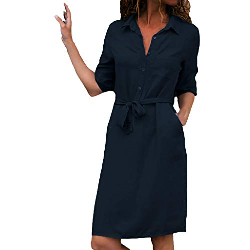 Xinantime Vestidos Mujer Casual, Mujer Verano De Playa Vestido De Lino De Verano Vestido Mujer Mujer Camiseta AlgodóN Casual Tallas Grandes Vestido De SeñOras Tallas Grandes Vestidos De Playa