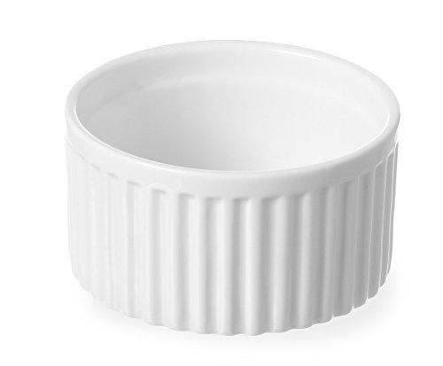HENDI Auflaufförmchen, Hohe Schlag- und Verschleißfestigkeit, geeignet für Ofen, Mikrowelle, Geschirrspüler, ø90x(H)48mm, Weiß Porzellan