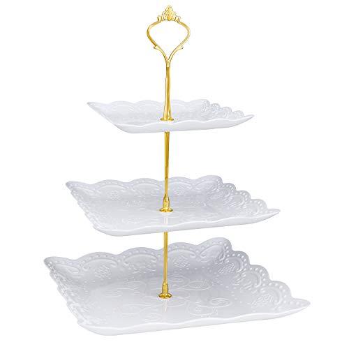 Comius Sharp 3-Tier Etagen Teller, Weiß Fruit Plates 3-Tier Candybar Dessert Teller Cupcake Ständer für Hochzeit, Zuhause, Geburtstag, Party Servierplatte (Square)