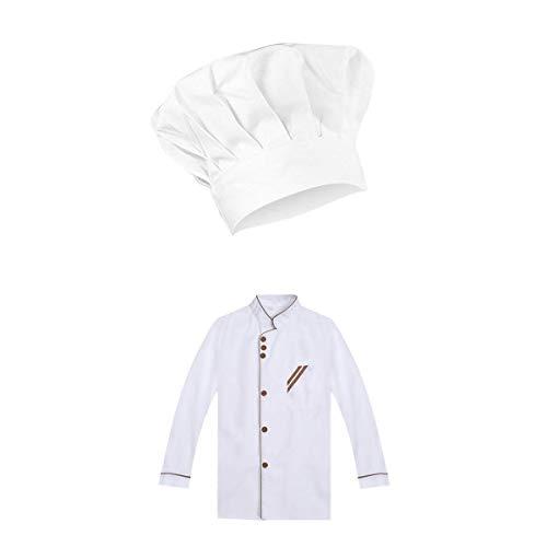 oshhni Chaqueta de Ropa de Chef Uniforme de Chef de Restaurante con Sombrero de Manga Larga