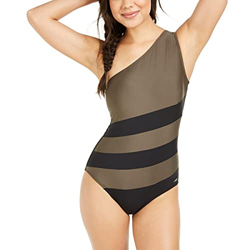 DKNY Womens Colorblock One Shoulder One-Piece Swimsuit Green 18