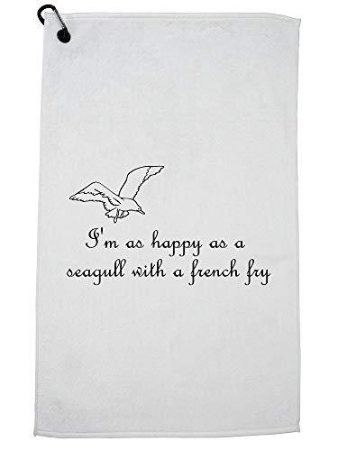 Hollywood Thread Fries - Ik ben zo blij als een zeemeeuw met een Franse Fry Golf handdoek met karabijnhaak Clip