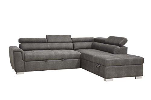 ACME Furniture Thelma Sleeper and Ottoman Sectional Sofa, Grey