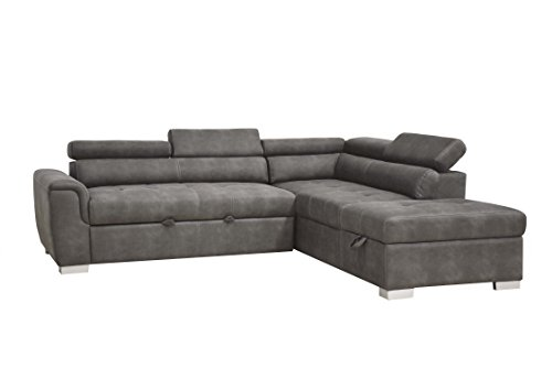 ACME Furniture Thelma Sleeper and Ottoman Sectional Sofa, Gray