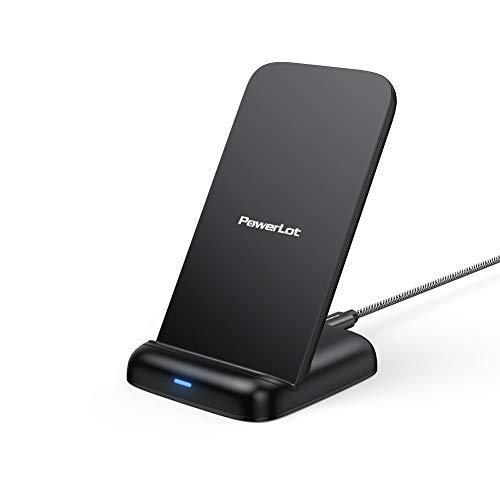 Wireless Charger, PowerLot Kabellose Ladestation mit 1.8M USB C Kabel, 10W Blitzschneller Ladeständer für Galaxy S20, Note 10, Drahtloser Ladeständer für iPhone 11 Pro Max, XR, XS (ohne Netzteil)