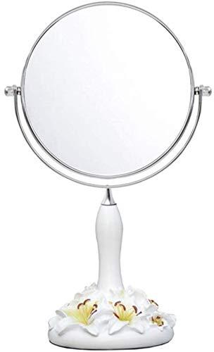 LHY- Maquillage Miroir Miroir de Bureau, Portable Pliant Miroir cosmétique, Double Face Miroir La Mode (Color : White, Size : 34 * 14 cm)
