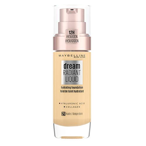 Maybelline Foundation Fond de Teint Hydratant Liquide Dream Radiant avec Acide Hyaluronique et Collagène - Couverture Légère et Moyenne jusqu'à 12 Heures d'hydratation, 21 Nude