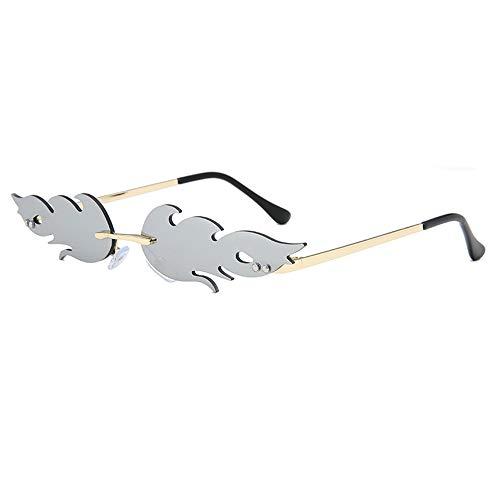 Grainas Retro Flamme Form Sonnenbrille für Damen Herren Randlose Brille Ultraleicht Metall Brillenfassungen Verspiegelt Sunglasses UV400-Schutz (Grau)