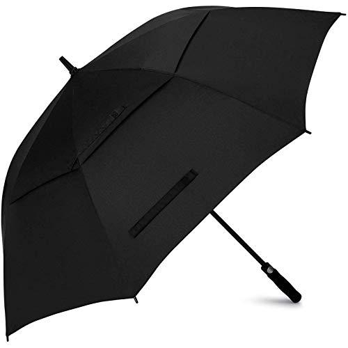 Tymuev Automatisch geöffneter Golfschirm, Doppelkronenschirm, Wind und wasserdichter Stockschirm, übergroßer Regenschirm, männlich und weiblich, schwarz