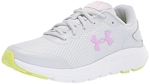 Under Armour Unisex Grade School Surge 2 Running Shoe, Halo Gray (109)/White, 3.5 US Men