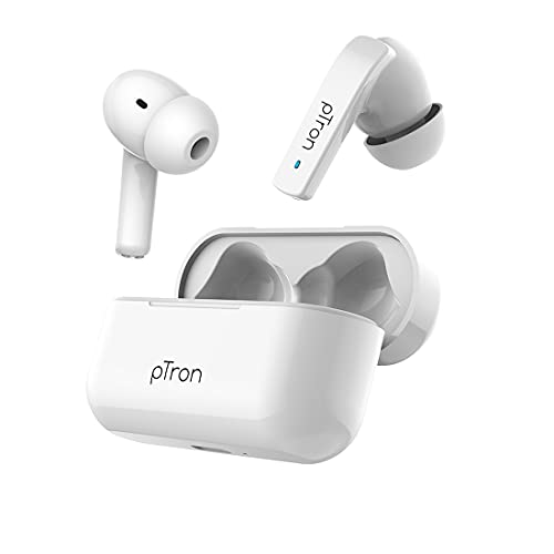 pTron Basspods 992 Active Noise Cancelling Bluetooth 5.0 Wireless Headphones with Deep Bass, Low Latency, Ergonomic Touch Control Earbuds, HD Mic, Voice Assistance & IPX4 Water-Resistant (White)