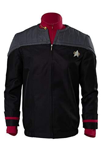 Linen Family NEM Nemesis Voyager Captain Siskoesis Voyager Captain Sisko Uniform Cosplay Kostüm Herren (Jacke + Unterhemd )