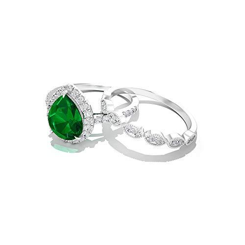 Rosec Jewels 18 quilates oro rosa pera round-brilliant-shape H-I Green Diamond Zafiro azul Leb creado
