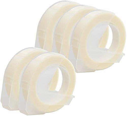 Prestige Cartridge 5x Weiß auf Transparent 3D Prägeband 9mm x 3m kompatibel für Prägegeräte Dymo Junior und Omega