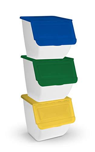 TIENDA EURASIA - Cubo de Basura para Reciclaje - Pack 3 Cubos de Basura de Cocina para Reciclar Apliables - 36L - (Papel - Vidrio - Plástico) (Blanco)