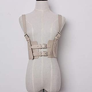 LIFANG Sexy Punk Lady Harness Suspenders Belts Strap Faux Leather Body Bondage Women Waist Belts Adjustable Accessories (Color : Apricot)