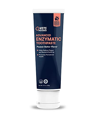 Brand New! Advanced Enzymatic Toothpaste for Dogs - Veterinarian-Grade, Safe and Natural Dog Toothpaste - Freshens Dog Breath, Fights Plaque and Reduces Tartar, Peanut Butter Flavor - 3 oz