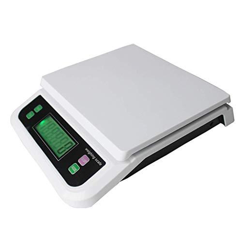lqgpsx Postplattformwaage, 30 kg Digitale Postpaketwaage Küchenwaage mit hintergrundbeleuchteter LCD-Gepäckwaage Schmuckwaage Schwarz Weiß (Farbe: Weiß, Größe: 30 kg * 1 g)