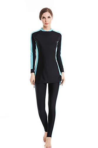 Muslimischen Damen Badeanzug Muslim Islamischen Full Cover Bescheidene Badebekleidung Modest Muslim Swimwear Beachwear Burkini (Asien L ~ EU-Größe 38-40, Blackblue)