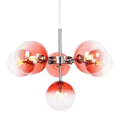 GXY bathtub Luz Colgante de Bola de Cristal Decorativa múltiple nórdica, lámpara de Techo de Burbujas Modernas de Personalidad, Sala de Estar, habitación y araña de Dormitorio (Color: Rojo)
