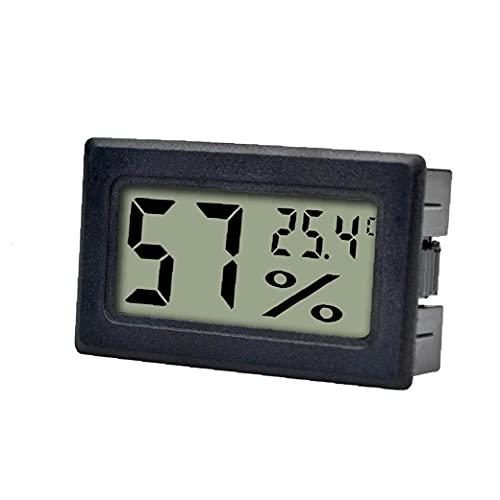 XKJFZ Mini probador del Sensor de Temperatura Integrado Grado Conveniente Grado Hilos del Coche probador de la Pantalla LCD higrómetro electrónico Digital Negro, Herramientas de jardín