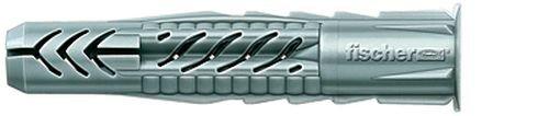 FISCHER Universaldübel UX 6 x 50 R, Schachtel mit 100 Nylondübeln, Allzweckdübel mit Rand, für optimalen Halt bei Befestigungen in Beton, Gipskarton, Kalksand-Lochstein uvm.