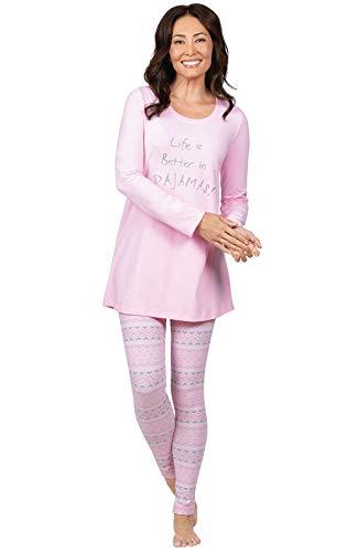 Addison Meadow Comfy PJs Women - Women Pajamas Set, Pink Fair Isle, M, 8-10