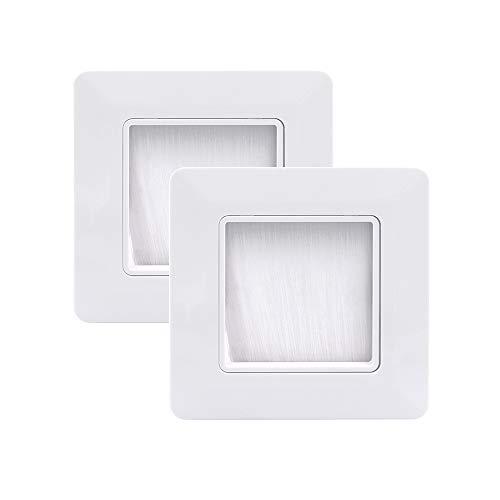 VCE Placa de Pared con cepillos pasacables Pared,Embellecedor para la Entrada y Salida de Cables - 2 Unidades Blanco 49mm x 49mm Interior