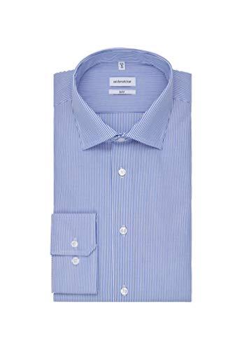 Seidensticker Herren Business Hemd Slim Fit – Bügelfreies Businesshemd, Blau (Mittelblau 15), (Herstellergröße: 38)
