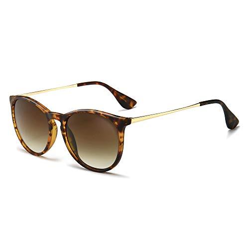 SUNGAIT Gafas de Sol Mujer Hombre Retro Redondas Unisex UV400 Proteccion(Marco Ámbar/Lentes Gradiente Marrón)