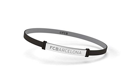 FCB Pulsera Fashion Negra Junior, Pulsera de silicona y acero inoxidable Fútbol Club Barcelona, Producto Oficial